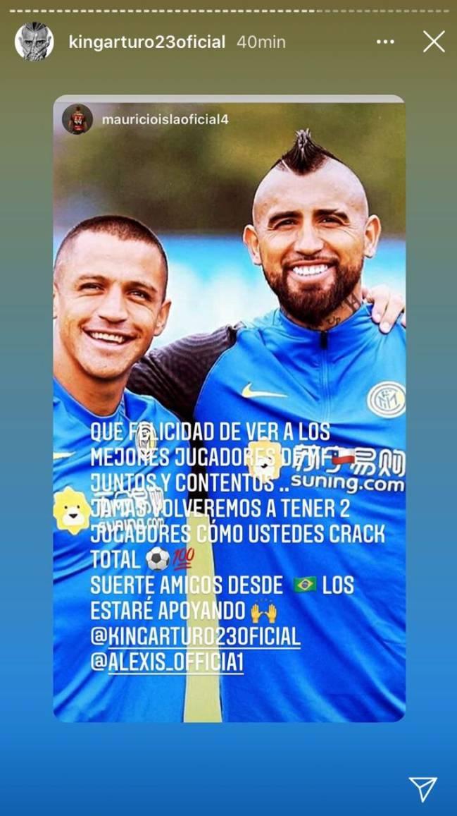 El emotivo mensaje de Isla a la dupla Vidal-Alexis en Instagram - AS Chile